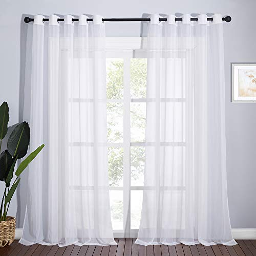 NICETOWN Sheer White Curtains 96 inches Length for Windows, Grommet Top Elegant Voile Textured Window Dressings for French Door/Bedroom/Living Room, W70 x L96, 1 Pair