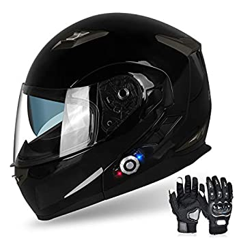 FreedConn Flip up Dual Visors Full Face - Motorcycle Helmet with Built-in Bluetooth