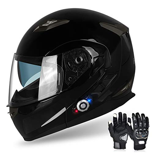 Motorcycle Bluetooth Helmets,FreedConn Flip up Dual Visors Full Face Helmet,Built-in Integrated Intercom Communication System(Range 500M,2-3Riders Pairing,FM radio,Waterproof,M,Gloss Black)