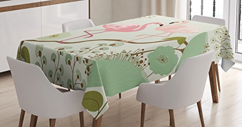 Wildlife Decor Mantel por Ambesonne, diseño floral fondo con par de flamencos pintura, sala de comedor cocina rectangular mantel, 52x 70pulgadas