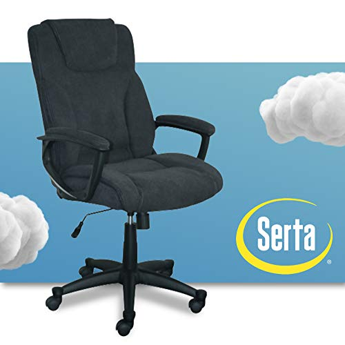 Serta Executive High Back Office Chair with Lumbar Support Ergonomic Upholstered Swivel Gaming Friendly Design, Microfiber Black