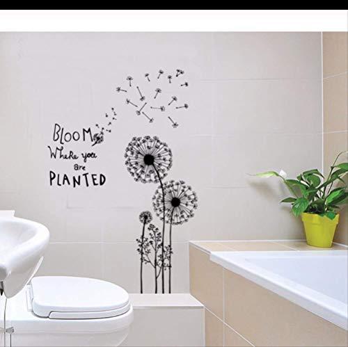 Muurstickers zwart bloei paardebloem waterdicht voor woonkamer slaapkamer keuken achtergrond muur raamdecoratie kunst muurschildering