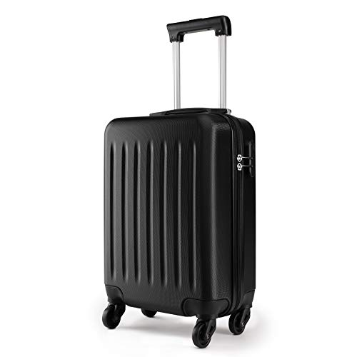 Kono 19 Inch Carry On Kids Luggage Lightweight Hardside Rolling Cabin Small Suitcase with 4 Spinner Wheel Gift for Children (Black)