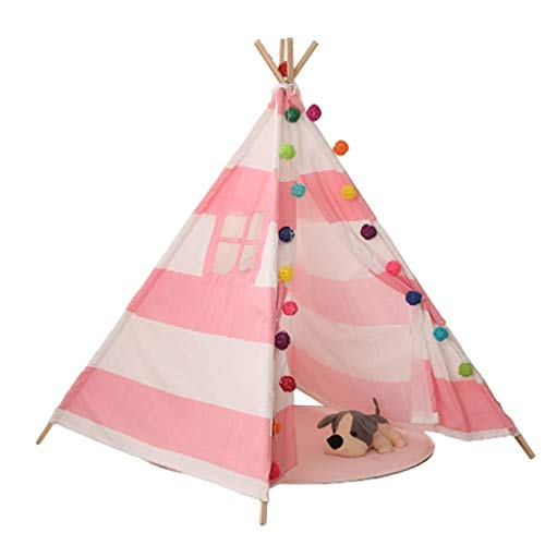 luckycao Kids Tent Game house With floor mats,Teepee Toys for Girls/Boys Indoor Outdoor, Natural Cotton Canvas Indian Tipi Tent With windows