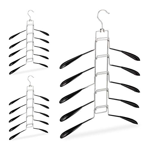 Relaxdays Kleerhangers, set van 3, 5 hangers per ophanging, bovenkleding, ruimtebesparend en antislip, zwart, 3 stuks