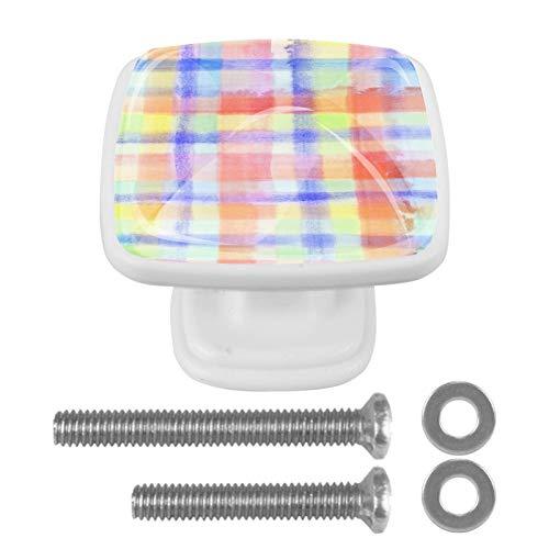 4 pomos de cajones cuadrados para cajones de cocina y baño, rejilla de colores