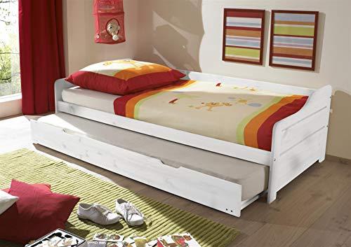 möbelando Funktionsbett Bett Einzelbett Kojenbett Tandemliege Bonnie I Weiß