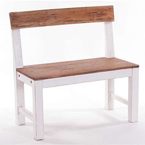 Design Delights - Panca in legno massello 80, 80 x 80 x 40 cm (larghezza x altezza x profondità), in legno anticato massiccio, panca in legno con schienale, panca decorativa.