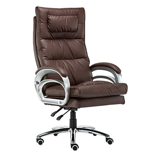 HHJJ Game Chair Computer Chair Desk Chair Massage Lumbar Pillow Computer Easy-to-Maintain Material Tilt Function Pu Leather Lock Free Replacements Quality Problem Leather -51816P2U8B (Color : Brown)