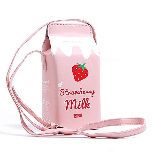 LUI SUI Monedero para niñas Cupcake Helado Palomitas de maíz Fruta Leche Caja Cartera Bolsa Bolsa pequeña para teléfono Bolso Bandolera