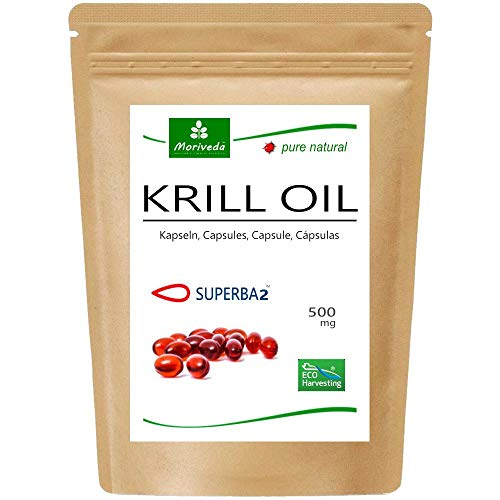 MoriVeda® Superba Premium Krillöl, 60 Kapseln mit revolutionärem Omega 3 Öl, verestertem Astaxanthin, Antioxidantien & Vitaminen I Zertifiziert durch ISO & MSC