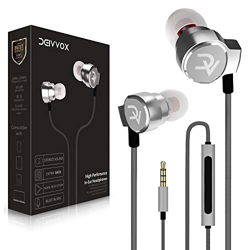 DEIVVOX D0218 Wired Earbuds with Microphone in Ear Headphones - Volume Control Mic - Balanced Sound with Extra Bass - Earphones Noise Isolating - Headset for Cell Phones Samsung Sony LG - Jack 3.5 mm