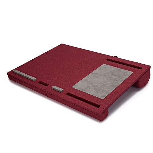 折りたたみ 膝上 テーブル PC クッション テーブル ベッドテーブル マウスパッド付 持ち運び可能 ノートパソコン タブレット用 ラップトップデスク パソコンデスク PCデスク ひざ上 ラップトップデスク テレワーク (レッド)