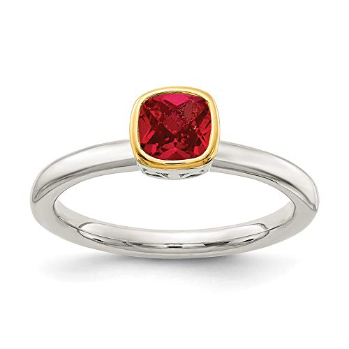 Sterling Silver and 14k Yellow Gold Accent Lab Created Ruby Ring, Size 6