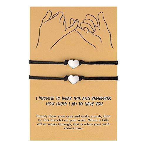 BOCHOI Distance Matching Bracelets for Best Friends Couples, Friendship Heart Wish Bracelets for 2, Adjustable Pinky Promise Relationship Bracelets Girlfriend Boyfriend Family Women Men Teens Girl
