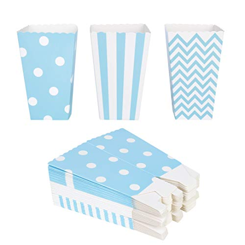 QIMEI-SHOP Popcorn-Boxen 36 Stück Popcorn Tüten Pappe Candy Container für Party Snacks Süßigkeiten Popcorn und Geschenke 12*7 cm (Blau)