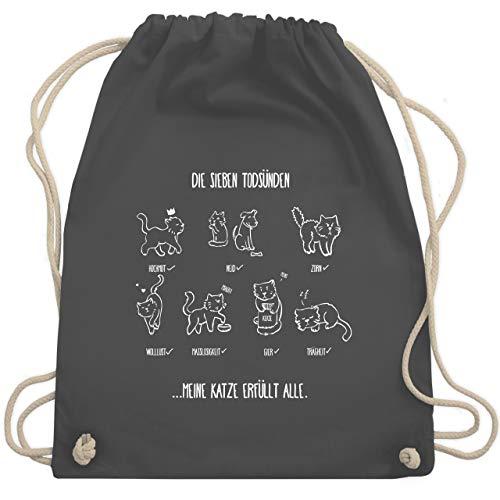 Shirtracer Katzen - witziges Katzenmotiv - Todsünden - Unisize - Dunkelgrau - WM110 - Turnbeutel und Stoffbeutel aus Bio-Baumwolle