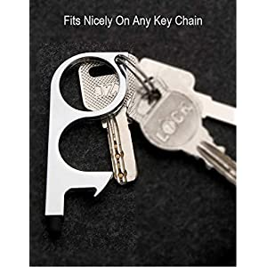 Clean Key No-Touch Door Opener with Sturdy Hook Design & Soft Tip for Pushing Buttons, Stylus, Bottle Opener & Keeping Hands Clean (2PCS Black)