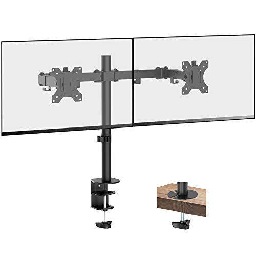 PUTORSEN Soporte de Doble Brazo de Escritorio Ajustable, para Pantalla de Monitor de TV, LCD y computadora de13-32, con Capacidad de Carga de 17,6 lbs para Cada Monitor