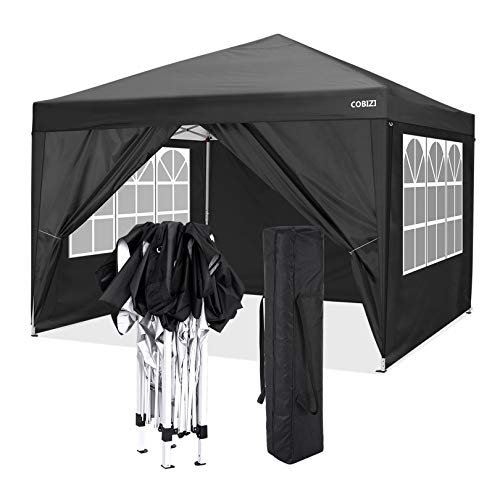 cobizi Pop Up Gazebo 3x3m Folding Garden Canopy Heavy Duty with 4 Side Panels, Top Cloth PVC Coating Waterproof & Sun Protection Portable Gazebo Party Tent Commercial Tents with Carry Bag