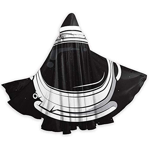 KDU Mode Heks Mantel, Astronaut Helm Over Zwarte Hooded Cape Mantel Gepersonaliseerde Wizard Mantels Voor Jongens Meisjes Kinderen 40x150cm
