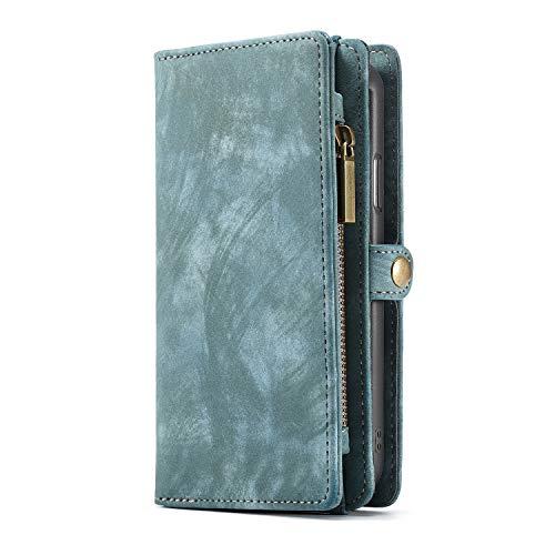 KelaSip Hülle Leder Huawei Mate 20 Pro Case HandyHülle Handytasche Brieftasche Schutzhülle Geldbörse [Kredit Kartenfächer] [Standfunktion] [Abnehmbarer Magnetisch Fall] für Huawei Mate 20 Pro - Blau