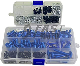 9FastMoto Full Motorcycle Fairings Bolt Screw Kits for 2003-2013 Suzuki SV650 03 04 05 06 07 08 09 10 11 12 13 Aluminium Screws Fastener Clips (Blue & Silver)