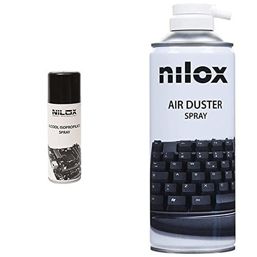 Nilox NXA02187 Alcol Isopropilico Spray Ideale per la Pulizia di Componenti Elettronici & NXA02061-1 Bomboletta Spray Aria Compressa per Pulizia Computer, Tastiere e Accessori
