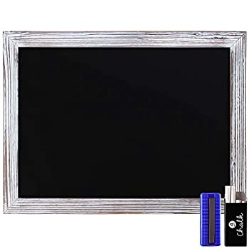 Rustic Whitewashed Magnetic Wall Chalkboard Large Size 18  x 24  Framed Chalkboard - Decorative Magnet Board Great for Kitchen Decor Weddings Restaurant Menus and More! …  18  x 24  …