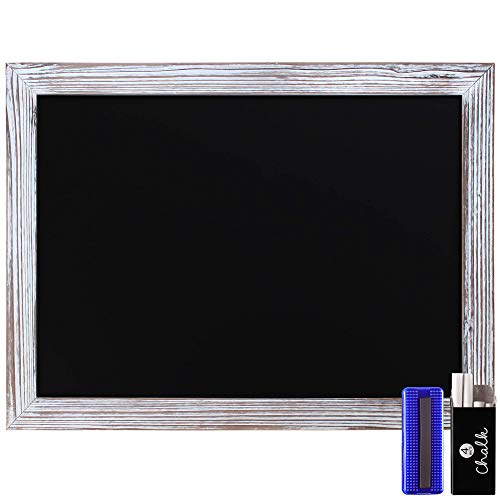 Rustic Whitewashed Magnetic Wall Chalkboard, Large Size 18' x 24', Framed Chalkboard - Decorative Magnet Board Great for Kitchen Decor, Weddings, Restaurant Menus and More! … (18' x 24')…