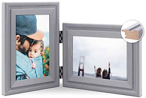 JD Concept Combo Vertical Horizontal de 10x15 cm, Marco de Fotos Doble de Madera con bisagra, Montaje en Pared o Escritorio, Retrato y Paisaje, Panel de Cristal, Gris