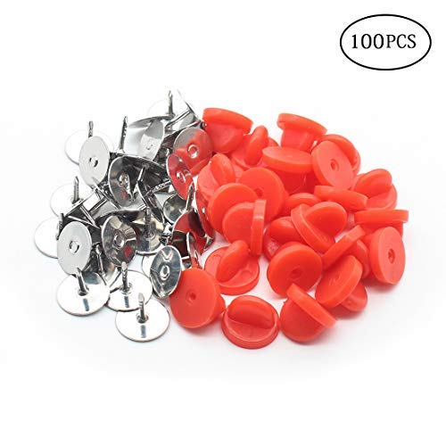 Butterfly Clutch PVC Rubber Pin Backs with Pins Replacement Uniform Badge Comfort Fit Tie Tack Lapel Pin Backing Holder Clasp (Red, 100 Pairs)