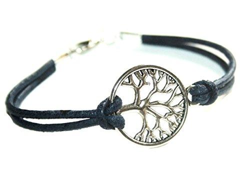 Lebensbaum Lederarmband blau/silberfarben, 16/17cm, Handmade, ein suüßes Geschenk für die beste Freundin, liebste Schwester, für Mutti oder einfach an sich selbst.