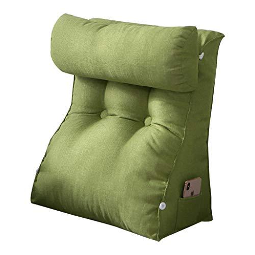 pillow Cómodo cojín triangular para respaldo de lino, sofá cama, silla de oficina, cojín suave (color: verde, tamaño: M)