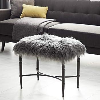 Deco 79 Metal Faux Fur Stool 26 W 20 H gray/silver