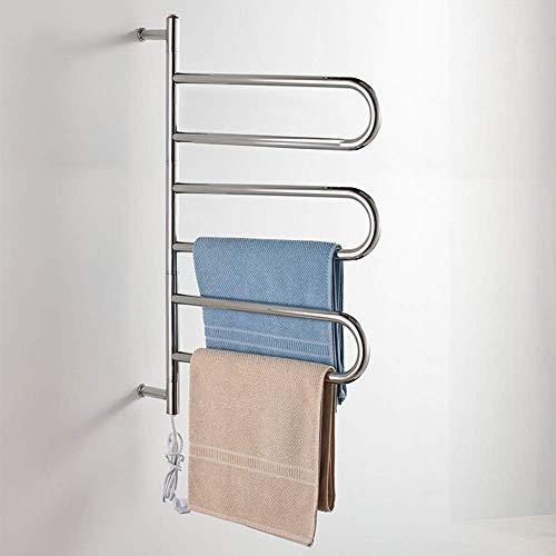 Calentador de toallas, toallero eléctrico con calefacción para baño, radiador curvo cromado, calentadores de toallas abiertos montados en la pared Acero inoxidable de bajo consumo energético -83 W