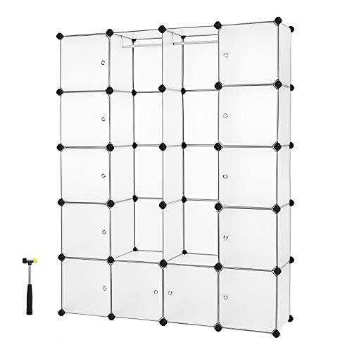 Pl/ástico Blanco 180 x 145 x 36.5 cm Relaxdays Armario Modular con 14 Compartimentos y 2 Barras