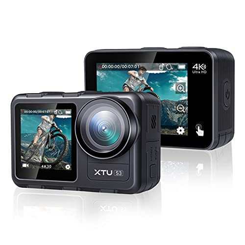 【2021 Upgrade】 4K30FPS WiFi Action Camera Waterproof Camera, XTU 20MP Sports Camera with Dual Touch Screen Display, Vlog Camera EIS Remote Control 131 Feet Underwater 166° Wide Angle