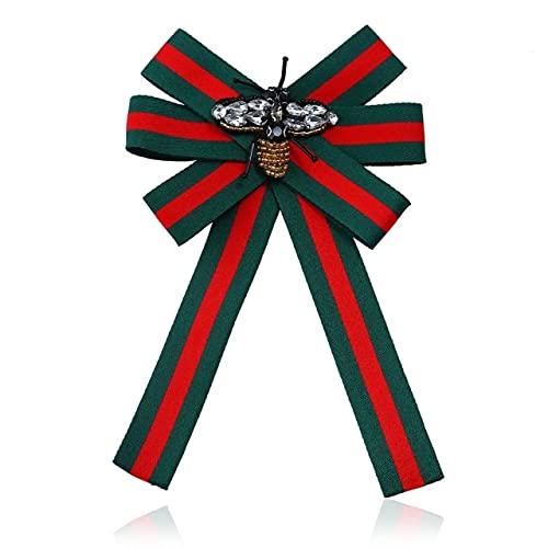 MPU Tela hecha a mano de abeja tejida a rayas pajarita broche collar broches joyería para las mujeres joyería de moda para la boda