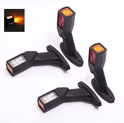 4 x luces LED de posicion lateral de 12V 24V / Luces LED de gálibo Laterales para camiones, remolques, semirremolques, tractores, etc, rojo y amarillo y blanco