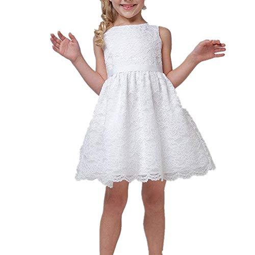 Puseky Abito da Sera Senza Maniche in Pizzo per Bambina (Color : White, Size : 10Y-11Y)