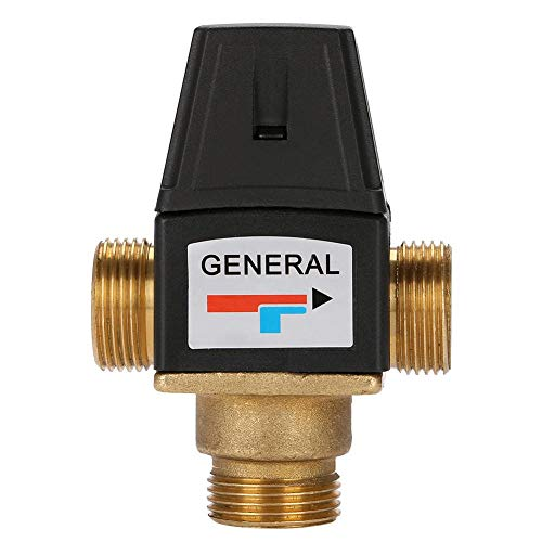 3 Way DN20 Messing Thermostatische Mischventil, Heiße- und Kaltwasser Mischventil, Geeignet für Haushaltswarmwassergeräte oder Fußbodenheizungen
