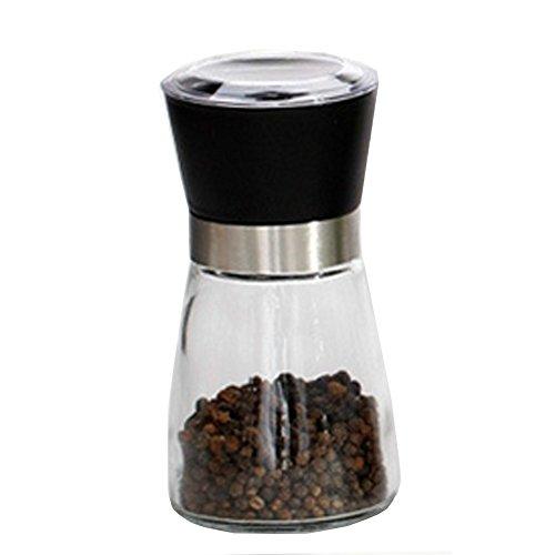Fablcrew Salz- und Pfeffermühle, manuell, aus Edelstahl und Glas, Gewürzmühle mit Keramikmahlwerk, verstellbar