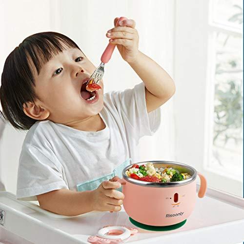 保温 冷却機能付きの子供用食器は、充電せずに健康的で環境にやさしく、下部のシリコン吸盤は滑り止めです