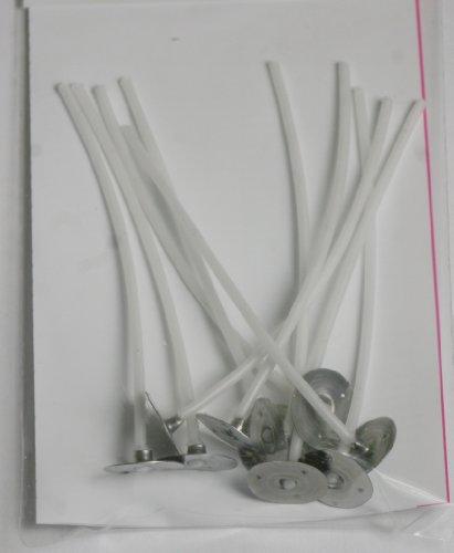 EfcoFlachdocht gewachst mit Halter, Baumwolle, Weiß, 3x 10x 80mm, 10Stück