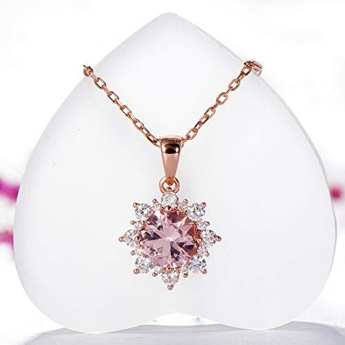 weichuang Juego de joyas para mujer de plata de ley 925 maciza con piedras preciosas, collar de oro rosa, joyería para mujer (color de gema: morganita, tamaño del anillo: 5)