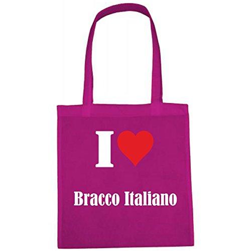 Tasche I Love Bracco Italiano Größe 38x42 Farbe Pink Druck Weiss