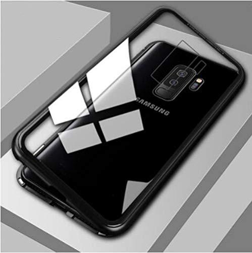XUEYAN521 Caja del teléfono móvil Caja de Metal de adsorción magnética para Samsung Galaxy S8 S9 S10 Plus S10E S7 Edge Note 8 9 M20 M10 A30 A50 A7 A8 A9 J4 J6 Plus 2018-Para J8 2018-Negro