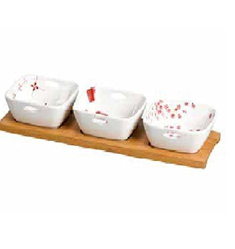 Présentoir bois Bamboo et porcelaine Comptoir de Famille Vintage Set de 3 Bols avec Base Bois 162790