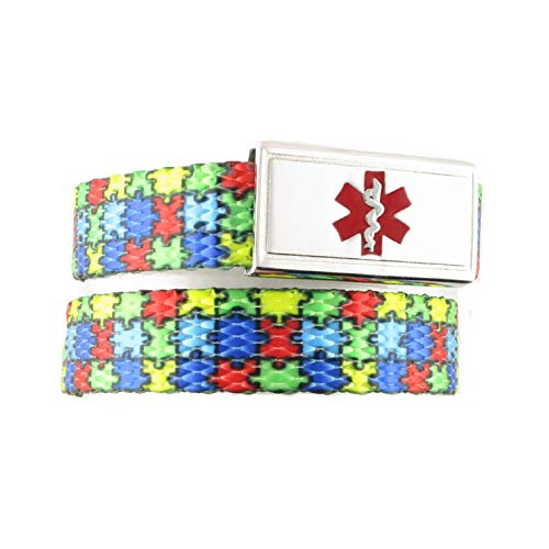 Autism Medical ID Bracelet | Choice of More Fun Designs | Free Engraving | 1 Bracelet, 1 Custom Stainless Steel Laser Engraved Tag | Puzzle